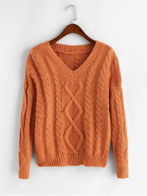 best Drop Shoulder Cable Knit V Neck Pullover Sweater - BASKET BALL ORANGE ONE SIZE