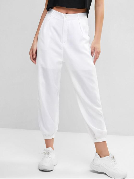 sale Zipper Fly Pockets Jogger Pants - WHITE S