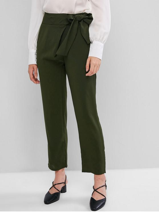 latest Belted Pocket Straight Pants - ARMY GREEN S