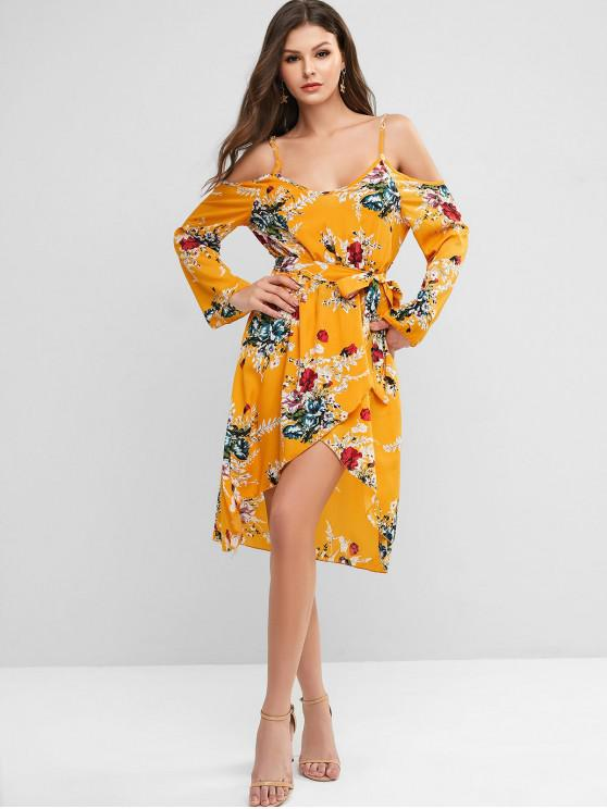 latest Overlap Floral Cold Shoulder Long Sleeve Dress - GOLDEN BROWN XL