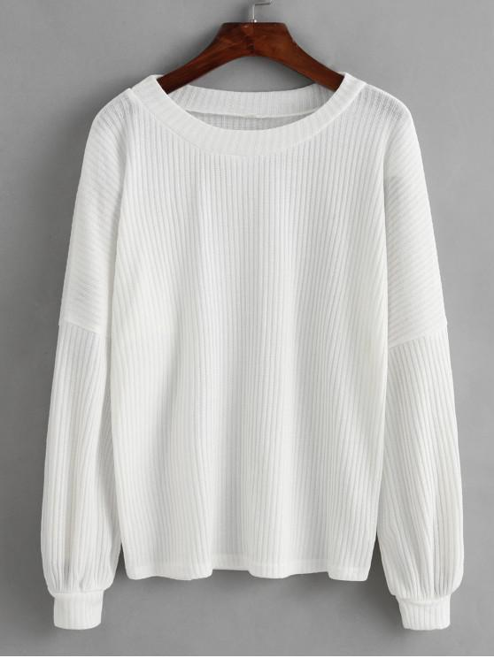 online Lantern Sleeves Solid Ribbed Sweater - WHITE L