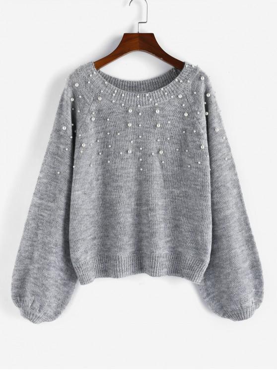 ladies ZAFUL Beading Faux Pearl Raglan Sleeve Sweater - GRAY CLOUD M