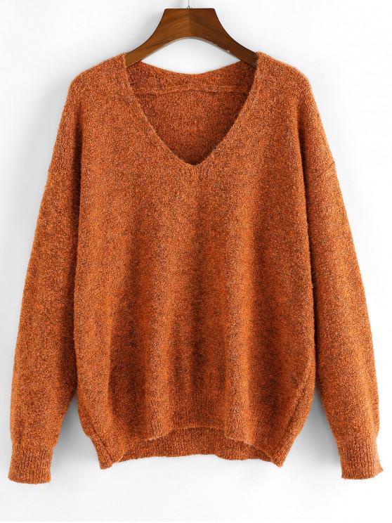 Suéter Fuzzy ZAFUL hombro Knit cuello en V de la gota - Naranja Papaya S