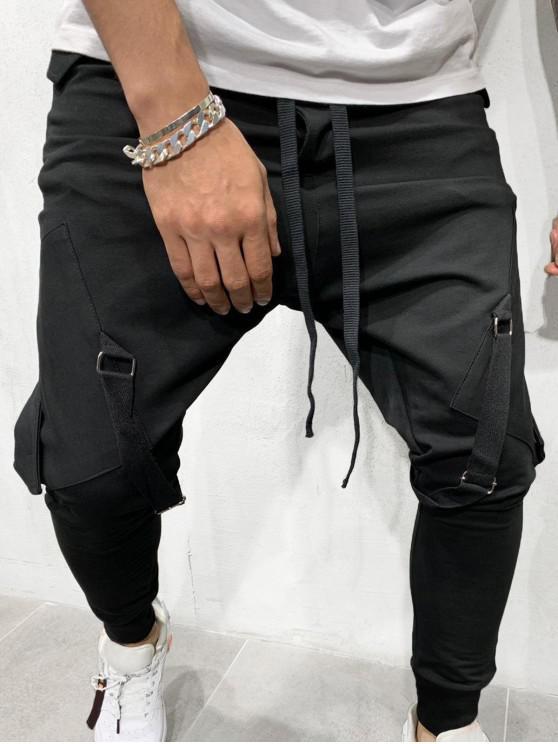 lady Ribbon Pockets Long Elastic Sport Jogger Pants - BLACK L