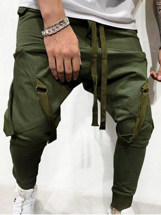 new Ribbon Pockets Long Elastic Sport Jogger Pants - ARMY GREEN L