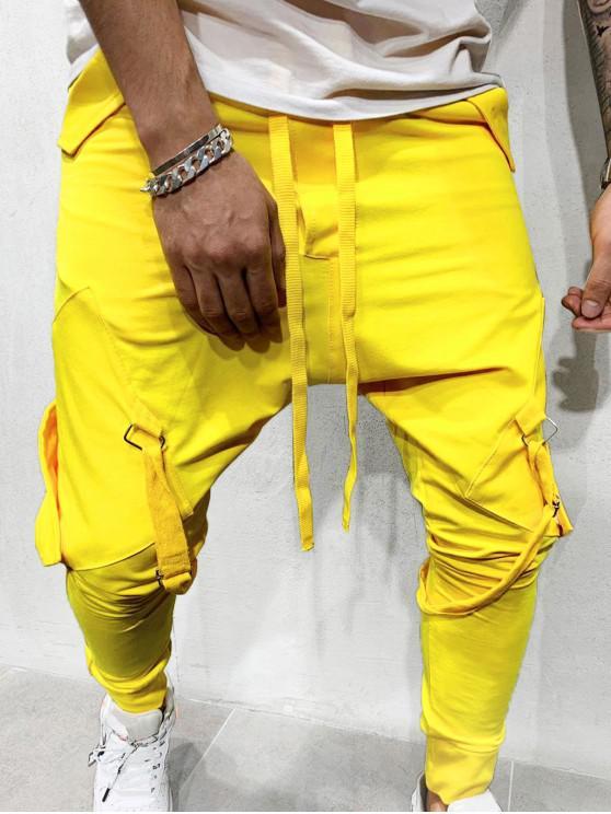 unique Ribbon Pockets Long Elastic Sport Jogger Pants - YELLOW M