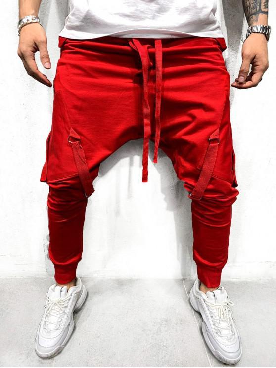 latest Ribbon Pockets Long Elastic Sport Jogger Pants - RED L