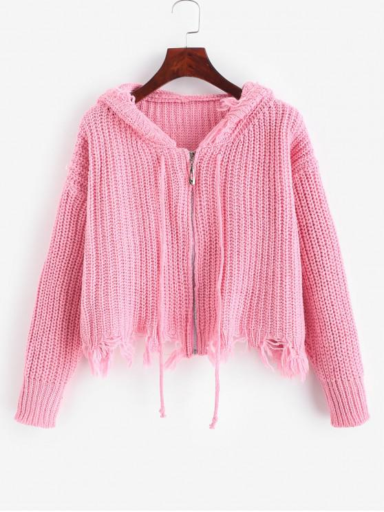 lady Hooded Zip Up Frayed Chunky Cardigan - PINK ONE SIZE
