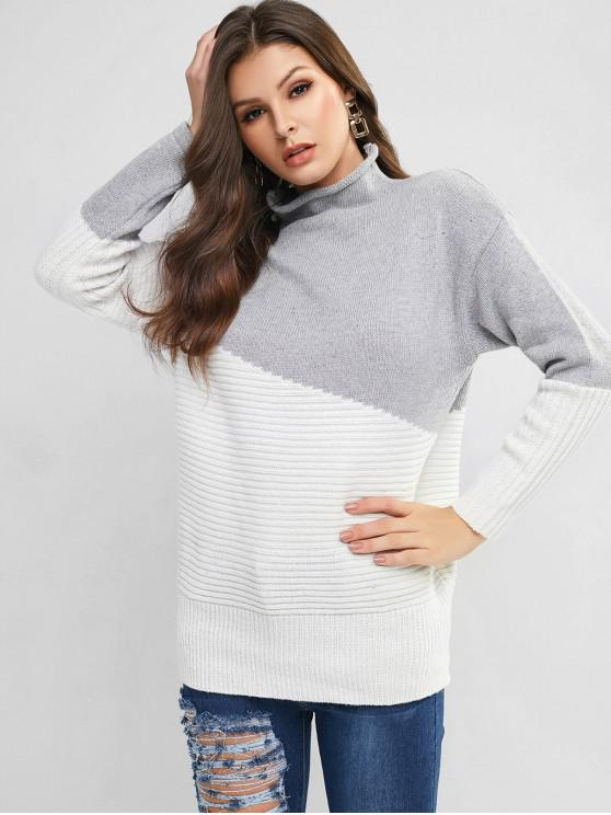 outfits Mock Neck Two Tone Pullover Sweater - MULTI-A ONE SIZE