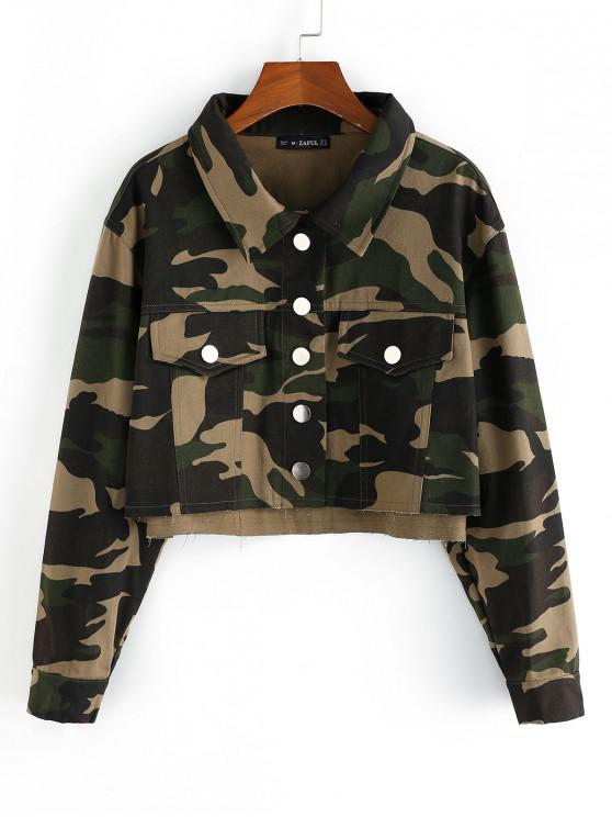 outfits ZAFUL Camo Cropped Jacket - FERN GREEN XL