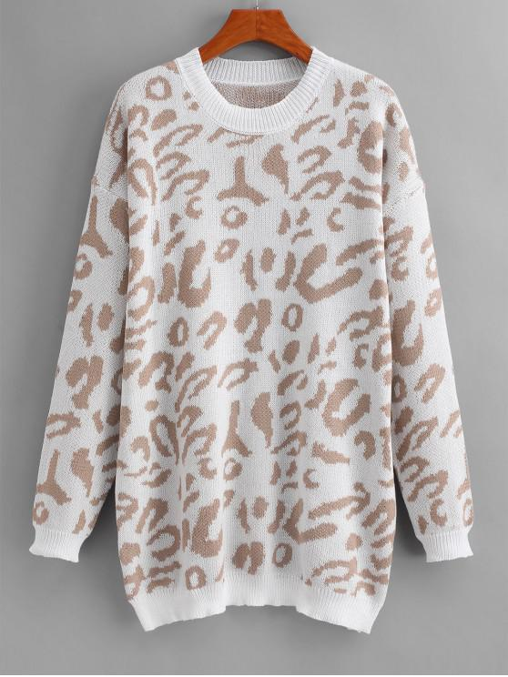 women Leopard Print Drop Shoulder Longline Sweater - WHITE M