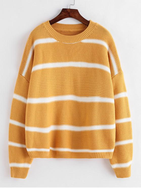 ladies ZAFUL Striped Drop Shoulder Oversized Textured Sweater - YELLOW ONE SIZE