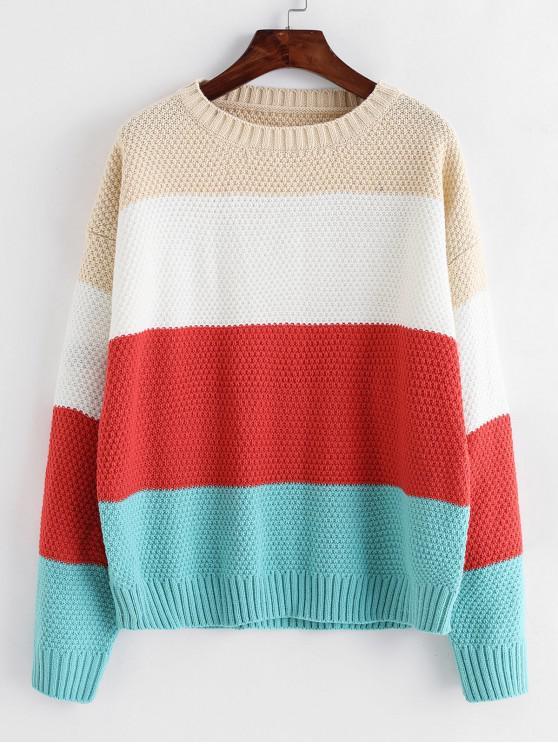 ZAFUL Jersey de Bloqueo de Color con Hombro Caído - Multicolor-A Talla única