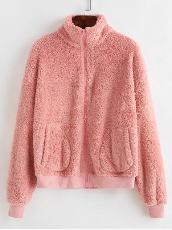 outfit ZAFUL Rib-knit Trim Plush Jacket - ROSE L