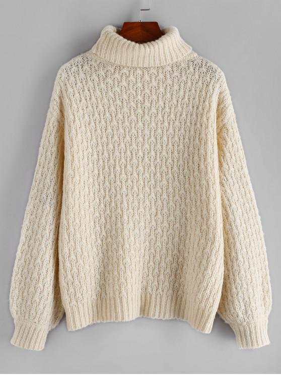 affordable ZAFUL Turtleneck Textured Drop Shoulder Plain Sweater - WARM WHITE M