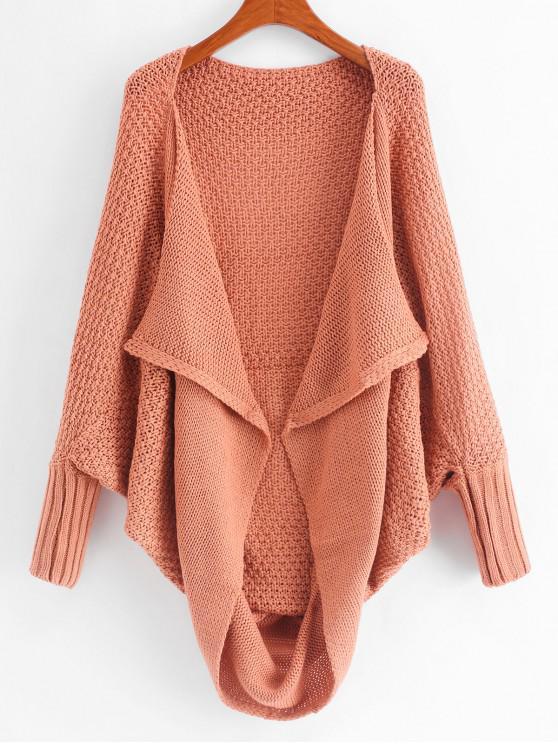 fancy Dolman Sleeves Draped Loose Knit Cardigan - ORANGE PINK L