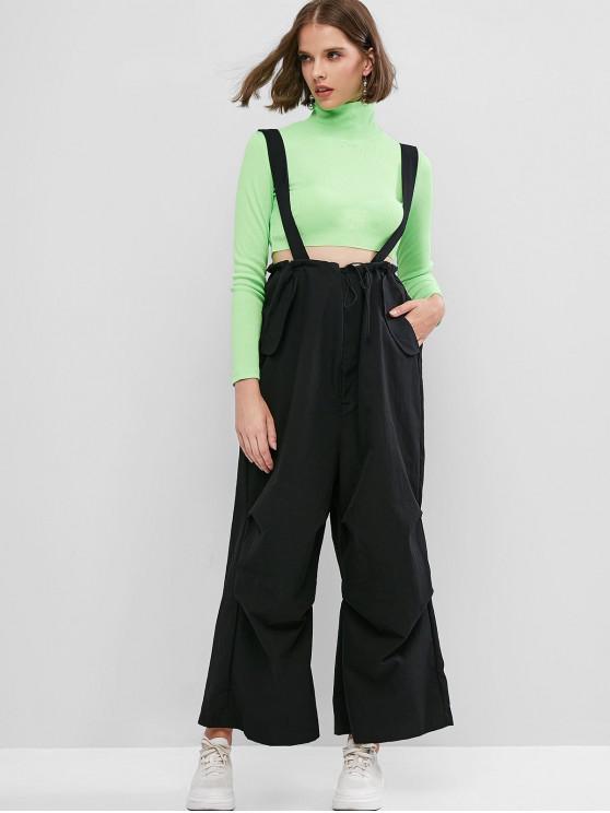 Kordelzug Maxi-Taschen-Wide Leg Strumpfhose - Schwarz Eine Größe