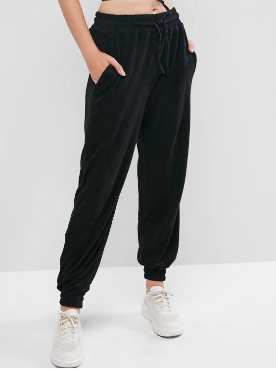 chic Drawstring Waist Pocket Toweling Jogger Pants - BLACK ONE SIZE