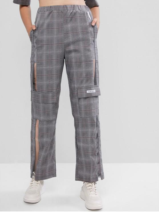 Plaid Tasche See Thru Insert Wide Leg Pants - Grau L
