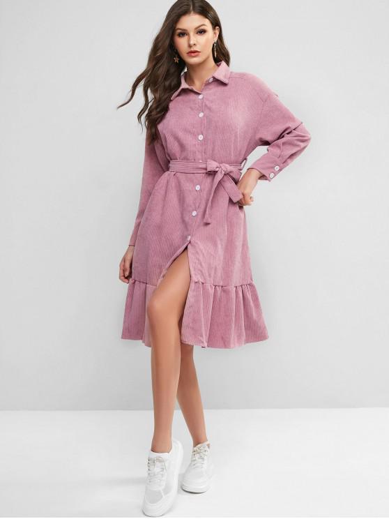 women's Flounce Button Down Corduroy Dress - PINK L