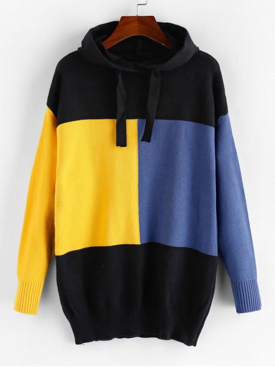 ZAFUL Colorblock capucha suéter palangre - Negro M