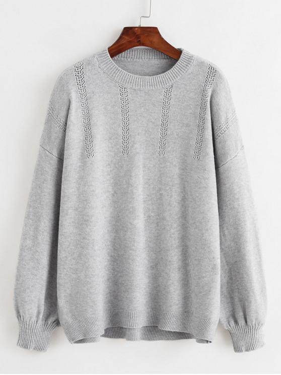 affordable Lantern Sleeves Pointelle Knit Solid Sweater - GRAY ONE SIZE