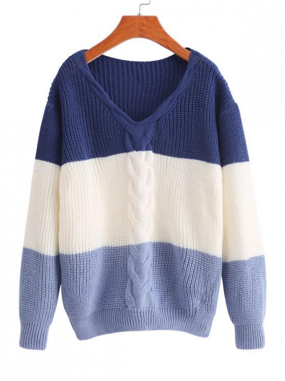 V Neck Colorblock Cable Knit suéter - Multicolor-B Talla única