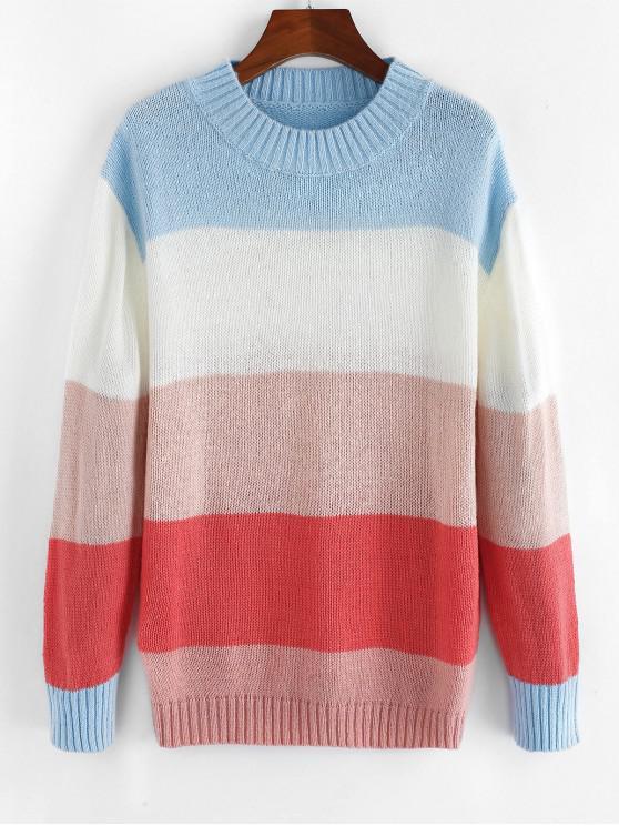 new ZAFUL Colorblock Drop Shoulder Pullover Sweater - MULTI M