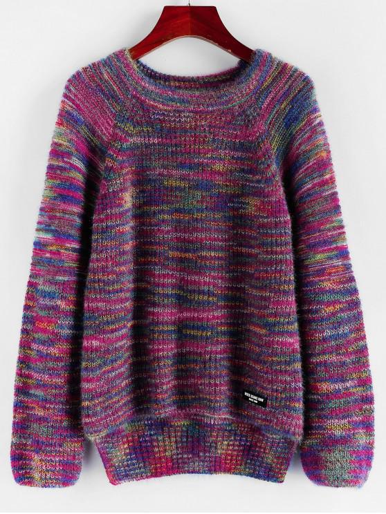 ZAFUL colorido del raglán de la manga del suéter del puente - Rojo Violeta Mediana S