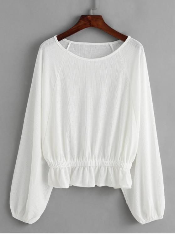 chic Dolman Sleeves Ruffle Hem Solid Blouse - WHITE S