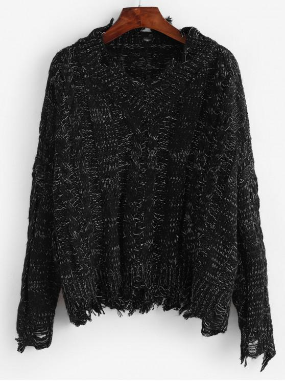 unique Cable Knit Ripped Heathered Chunky Sweater - BLACK ONE SIZE
