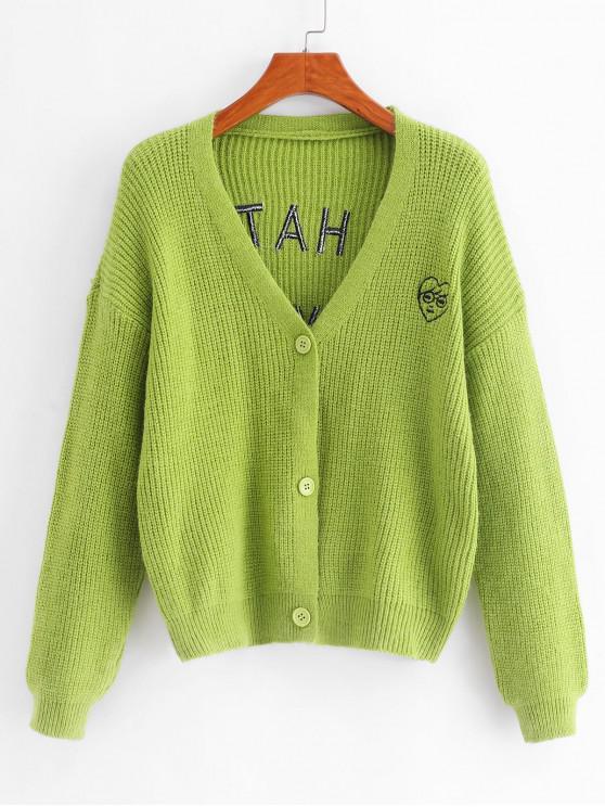 Botón de cuello en V Frente Carta chaqueta bordada - Guisantes Verdes Talla única