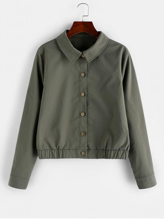 chic ZAFUL Button Up Elastic Hem Plain Jacket - CAMOUFLAGE GREEN M
