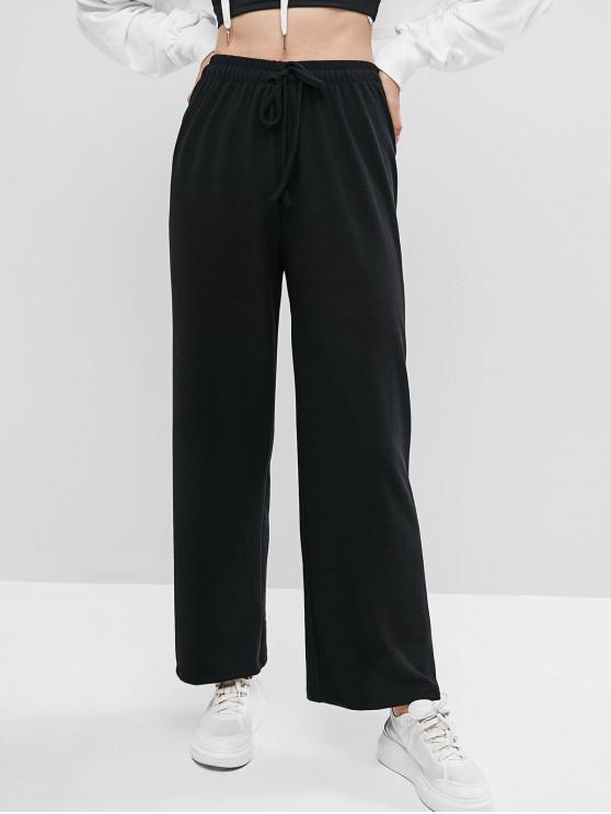 Zu Plain Knit Hose mit weitem Beine - Schwarz S