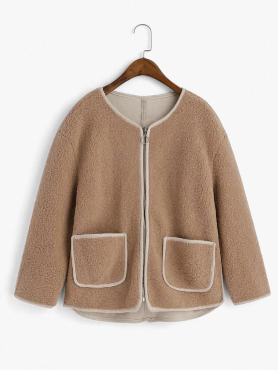online Contrast Piping Zip Up Pockets Teddy Jacket - CAMEL BROWN M