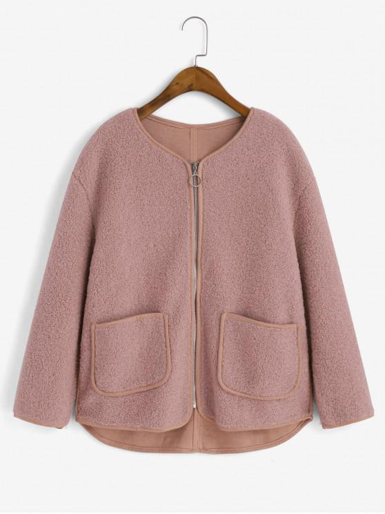 trendy Contrast Piping Zip Up Pockets Teddy Jacket - SAKURA PINK M