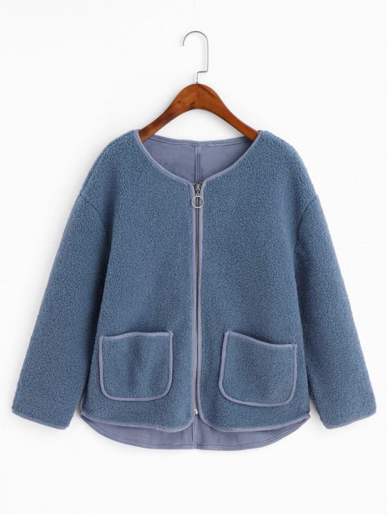 womens Contrast Piping Zip Up Pockets Teddy Jacket - BLUE KOI M