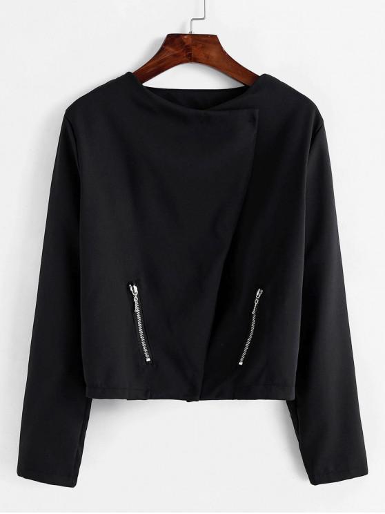 shops Zippered Pocket Draped Jacket - BLACK XL