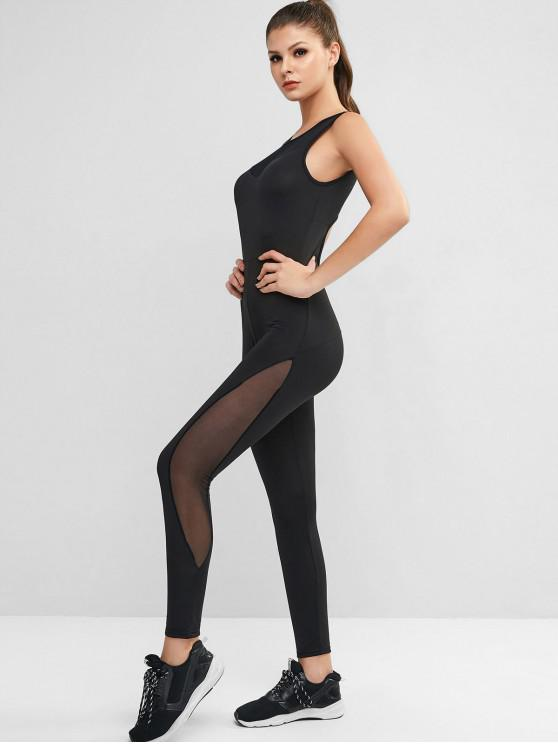 buy Mesh Panel Cut Out Back Unitard Jumpsuit - BLACK S