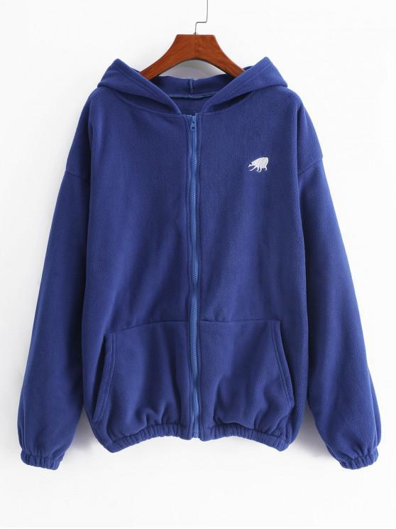 latest Zipper Pocket Drop Shoulder Fluffy Hoodie - BLUE XL