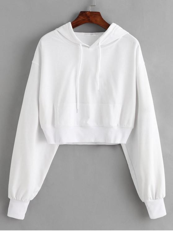 unique Rib-knit Trim Cropped Hoodie - WHITE M