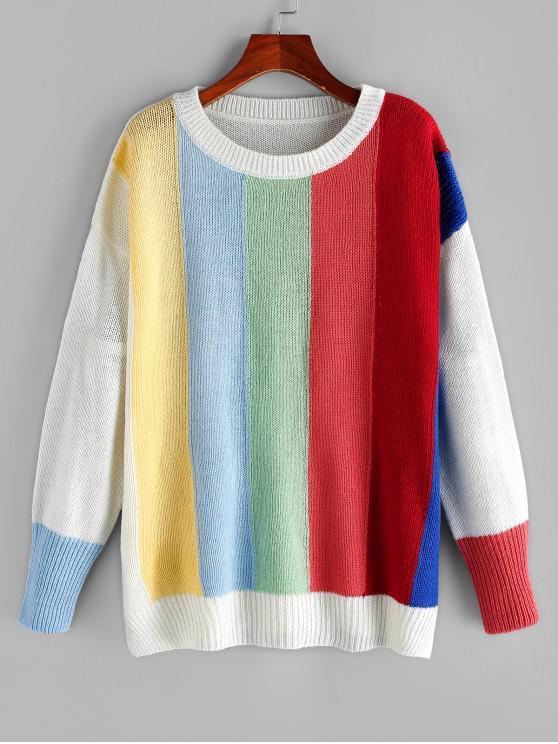 hot ZAFUL Drop Shoulder Colorful Wide Stripes Jumper Sweater - MULTI L