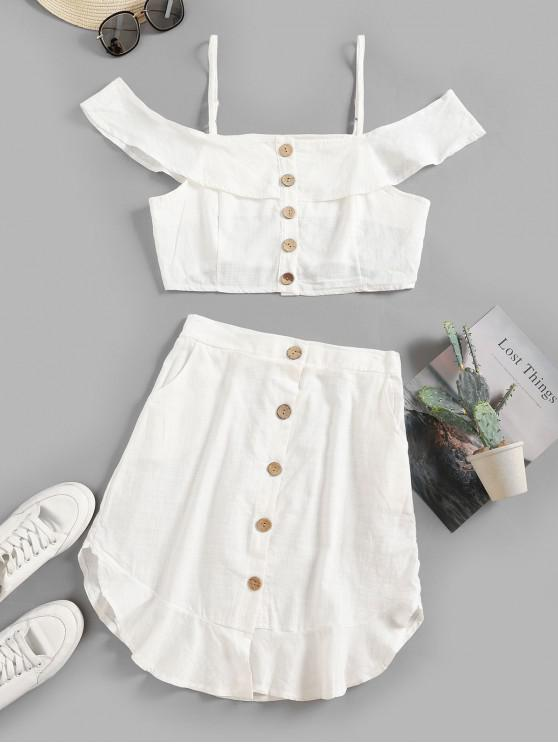 outfits Flounce Button Up Pocket Two Piece Dress Set - WHITE L