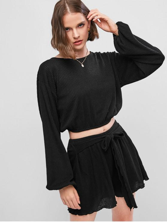 outfit ZAFUL Puff Sleeve Crop Top and Knot Front Mini Shorts Knitwear Set - BLACK S