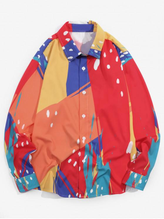 buy Splatter Painting Printed Full Sleeves Casual Shirt - MULTI 2XL