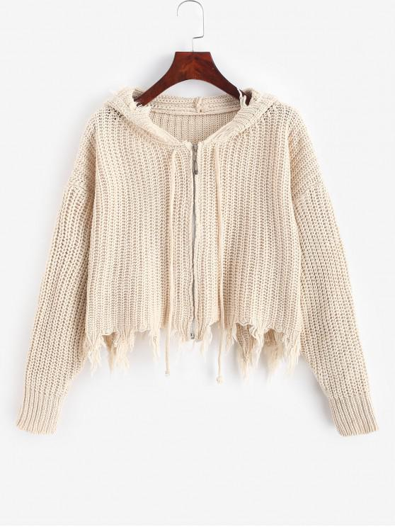 chic Hooded Zip Up Frayed Chunky Cardigan - WARM WHITE ONE SIZE