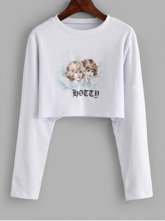 fancy Long Sleeve Cropped Angel Graphic Tee - WHITE L