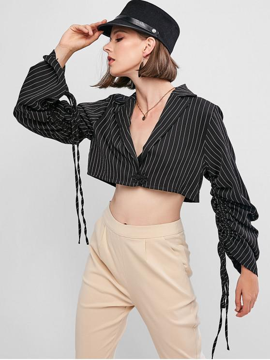 outfit Striped Cinched Sleeve Lapel Crop Shirt - BLACK L