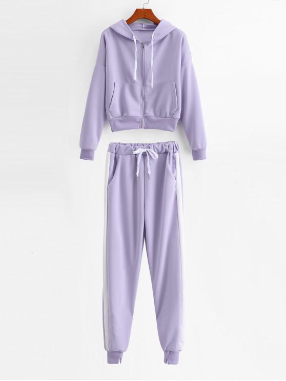 fashion Two Tone Zip Pocket Hoodie and Gym Jogger Pants Set - MAUVE XL