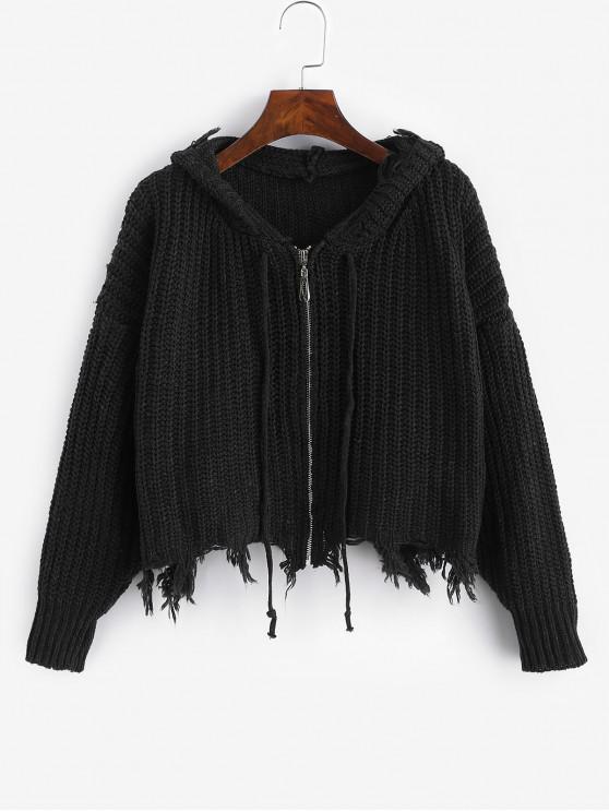 Cardigan Epais Zippé Effrangé à Capuche - Noir Taille Unique